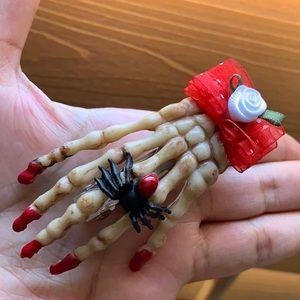 "3"" skeleton hand hair barrette clip Day of Dead"